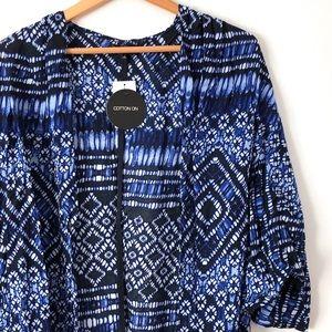 Blue Shibori Tye-Dye Kimono Cardigan